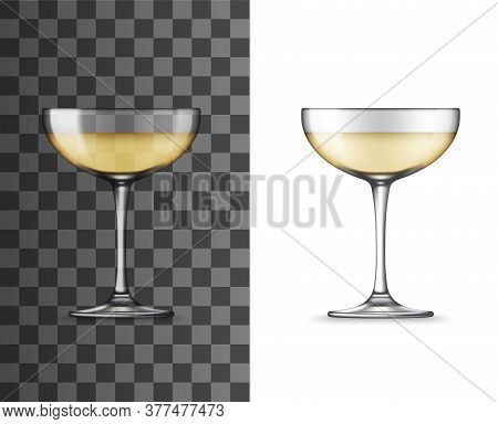 White Wine Glass Or Champagne Coupe Realistic Vector Mockup. Glass Of Sparkling Wine Alcohol Drink I