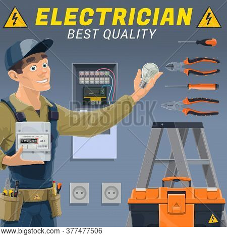 Electrician With Electric Equipment And Tools. Vector Engineer Or Technician Of Electrical Service W