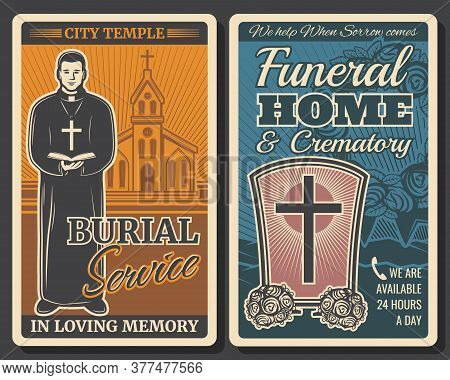 Funeral Or Burial Service Retro Posters With Vector Death Grave, Cemetery Tombstone And Memorial Flo