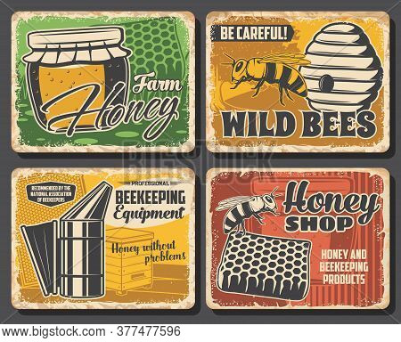 Honey And Bee Retro Posters Of Vector Beekeeping Farm Food. Apiary And Wild Bee Beehives, Honey Jar
