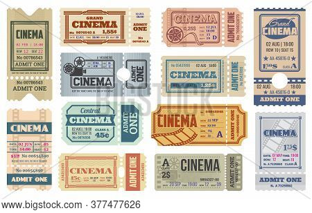 Cinema Or Movie Theater Ticket Vector Templates. Admit One Coupons, Admission Tickets Or Pass Flyers
