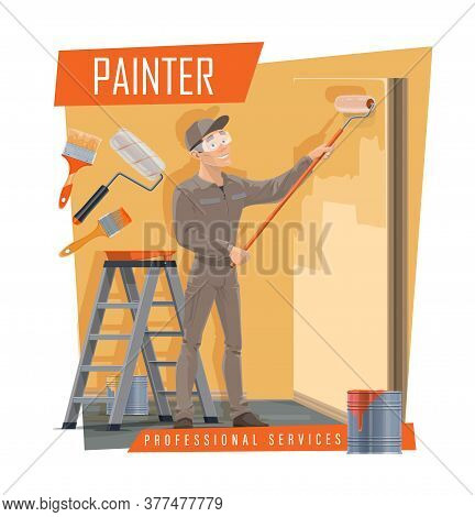 House Painter With Work Tools Cartoon Vector Of Painting Service Decorator, Construction Industry. I