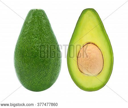 Fresh Avocado Fruits Isolated On White Background With Clipping Path,closeup.