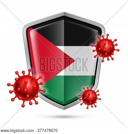 Flag Of Palestine On Metal Shiny Shield Icon And Red Corona Virus Cells. Concept Of Health Care And