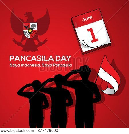 An Illustration Of Man Salute To Pancasila, Marks The Date Of Sukarno's 1945 Address On The National