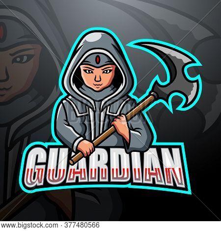 Vector Illustration Of Guardian Mascot Esport Logo Design