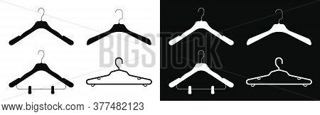 Icons, Set Of Hangers, Shoulders For Clothes. Wardrobe Storage. Gentle Care Of Things. Black And Whi