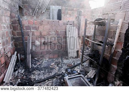 Porto Seguro, Bahia / Brazil - June 11, 2010: Ruins Of A House Indicted By A Drug Dealer In The Baia