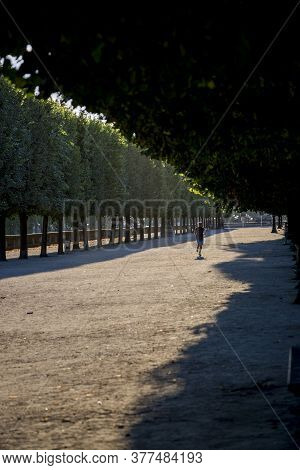 Paris, France - July 04, 2018: Sports Run In The Tuileries Garden In Paris