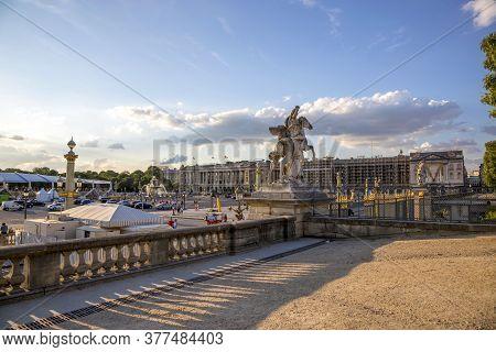 Paris, France - July 04, 2018: View Of The Place De La Concorde By The Tuileries Garden