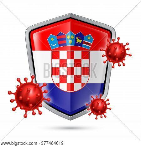 Flag Of Croatia On Metal Shiny Shield Icon And Red Corona Virus Cells. Concept Of Health Care And Sa