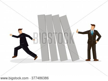 Businessman Running Away From Falling Domino Push By Other Businessman. Concept Of Crisis Management