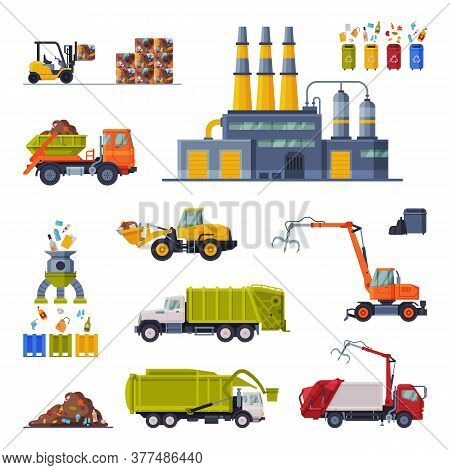 Industrial Garbage Recycling Set, Waste Processing Plant, Garbage Truck, Garbage Collection, Transpo