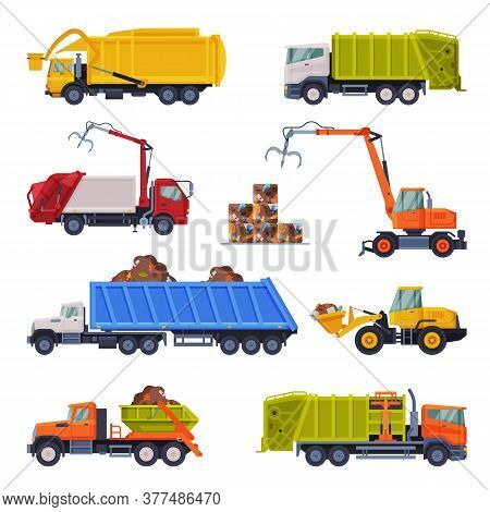 Heavy Special Sanitary Vehicles Set, Garbage Truck, Bulldozer, Waste Collection, Transportation And