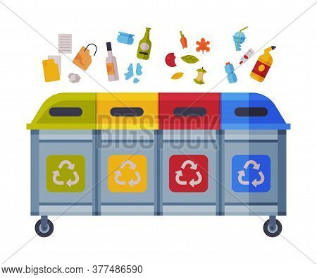 Waste Sorting, Different Trash Bins With Sorted Garbage, Paper, Glass, Organic, Plastic Kinds Of Tra
