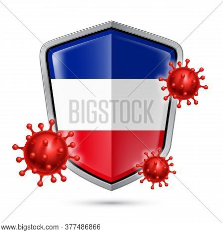 Flag Of Yugoslavia On Metal Shiny Shield Icon And Red Corona Virus Cells. Concept Of Health Care And