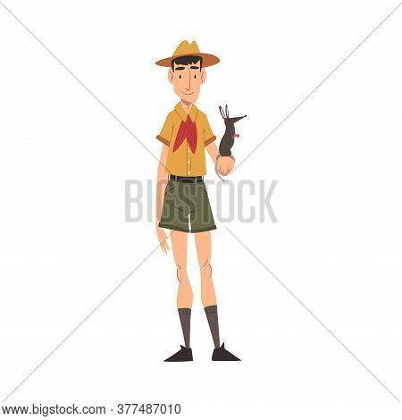 Male Zoo Worker Holding Rat In His Hand, Veterinarian Or Professional Zookeeper Character In Uniform