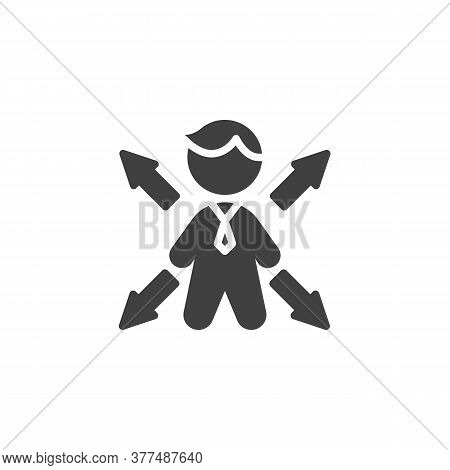 Businessman Choice Vector Icon. Filled Flat Sign For Mobile Concept And Web Design. Business Decisio
