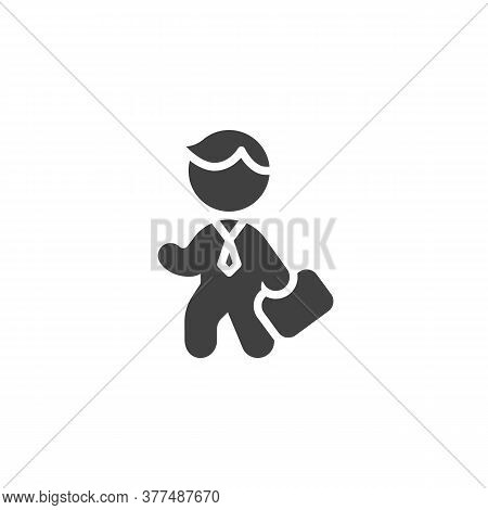 Business Man With Briefcase Vector Icon. Filled Flat Sign For Mobile Concept And Web Design. Man Hol