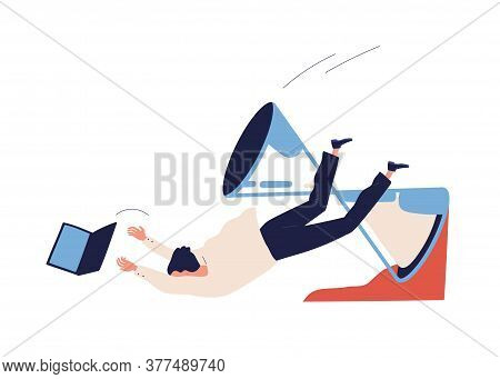 Concept Of Missing Deadline, Bad Time Management. Scene Of Failure, Tired, Exhausted Man Falls Down