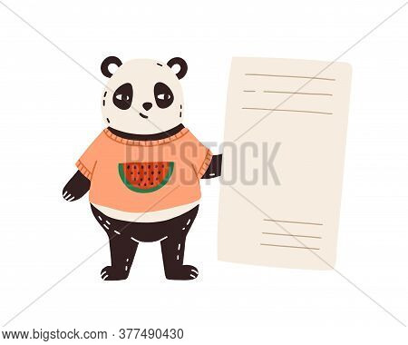 Childish Character, Funny Panda Portrait In T Shirt, Watermelon Print. Cute Bear, Teddy Hugs, Animal