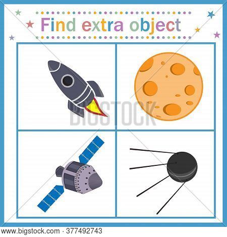 Map Game For Children's Development, Find An Extra Object, Where All Objects Are Made By Man, Except