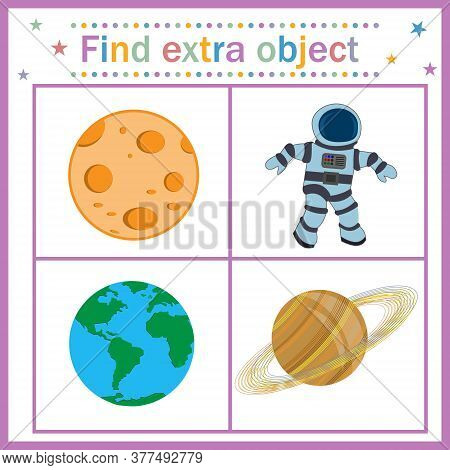 Map Game For Children's Development, Find An Extra Object, Where All Objects Are Round The Planet, E
