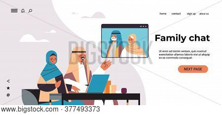 Arab Couple Having Virtual Meeting With Aribic Grandparents During Video Call Family Chat Online Com
