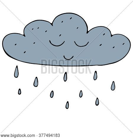 Cute Blue Autumn Cloud With Raindrops, Freehand Drawing, Vector Doodle Style Element, Black Outline