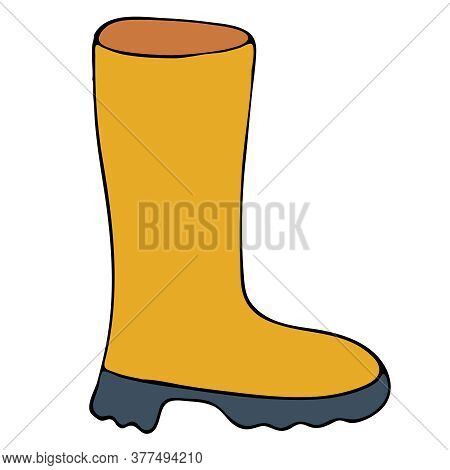Bright Yellow Rubber Boot For Autumn, Freehand Drawing, Vector Doodle Element, Black Outline
