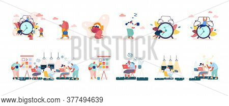 Set Of Male And Female Characters With Clock, Concept Of Time, Leisure, Working Activity Or Procrast