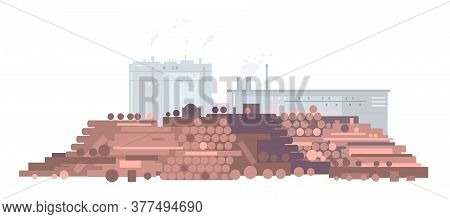 Raw Wood For Paper Mill In Flat Style Isolated, Lumber Heap With Factory Buildings Silhouette, Indus