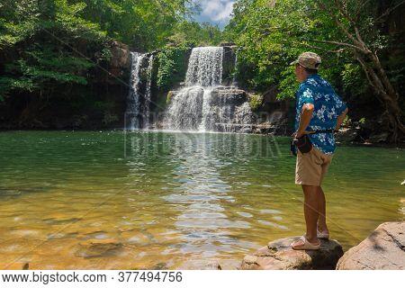 Beautiful Klongchao Waterfall , Koh Kood Island, South East Asia, Thailand. South China Sea.