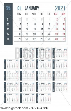 2021 Year Blue Calendar. Month Countdown Page Set. Day, Week. Date And Schedule. Printable Version T