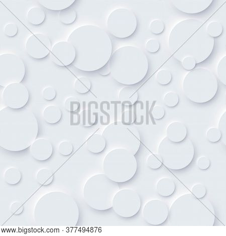 Realistic Circle Small And Big With Long Shadow White Seamless Pattern. Abstract Geometric Shape Dif