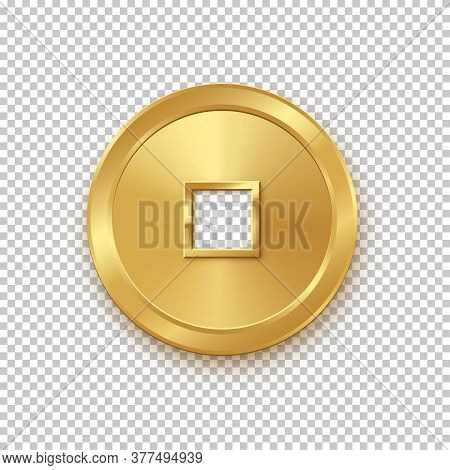 Shiny Glowing Realistic Vector Golden Money Coin China Isolated On White Background Pattern. Magic G