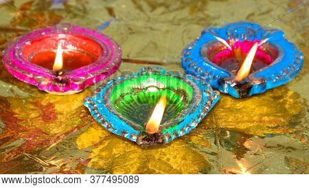 Lit Up Oil Lamps Glowing During Festival Of Diwali In India