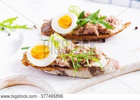 Toasts With Tuna. Italian Bruschetta Sandwiches With Canned Tuna, Egg And Cucumber.