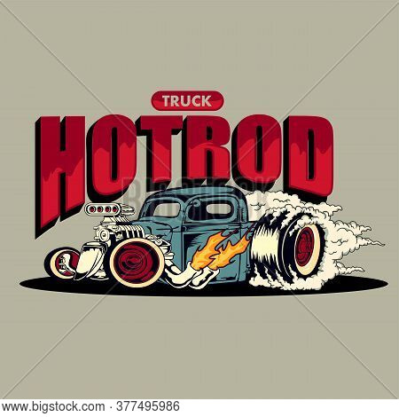 Truck Hotrod Illustration Isolated On The White Background