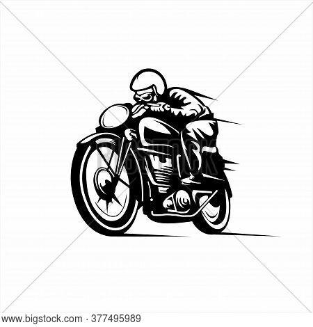 Vintage Racer Illustration Isolated On The White Background