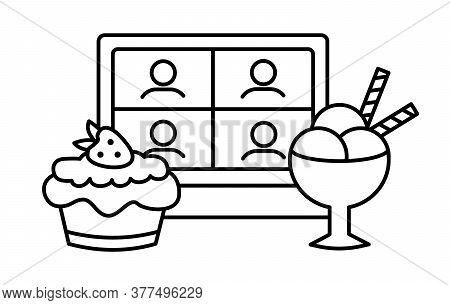 Mukbang Linear Icon. Sweet Online Meeting Of Friends With Desserts. Cake Party With Cupcake And Ice
