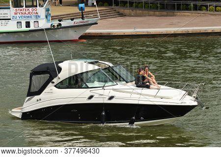 Mikolajki, Poland, July 12: Unidentified People On Boat On July 12, 2020 At Mikolajki, Poland. Mikol