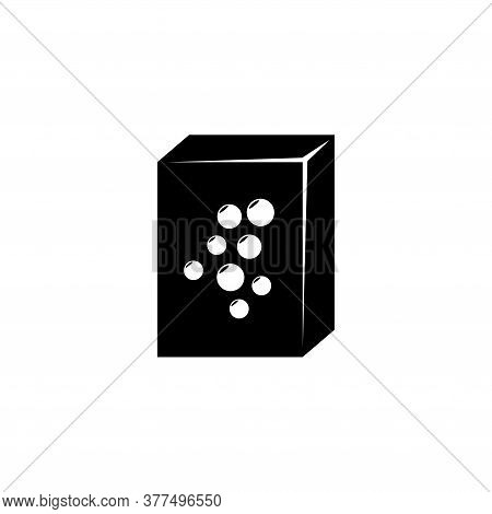 Washing Powder Box, Sealed Detergent Pack. Flat Vector Icon Illustration. Simple Black Symbol On Whi