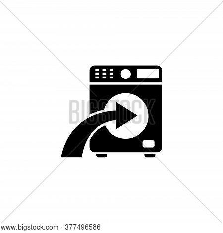 Loading Laundry Washing Machine, Laundromat. Flat Vector Icon Illustration. Simple Black Symbol On W