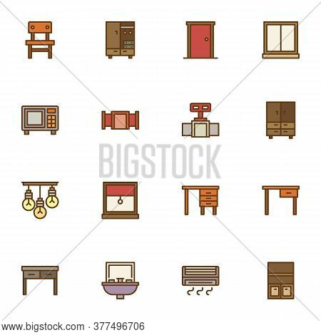 Home Furniture Filled Outline Icons Set, Line Vector Symbol Collection, Linear Colorful Pictogram Pa