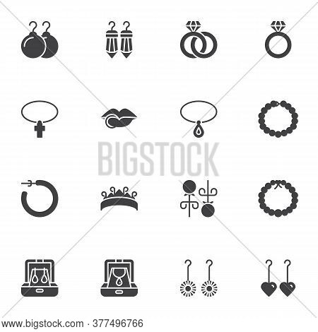 Jewelry Collection Vector Icons Set, Modern Solid Symbol Collection, Filled Style Pictogram Pack. Si