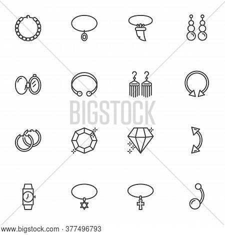 Jewelry And Women Accessories Line Icons Set, Outline Vector Symbol Collection, Linear Style Pictogr