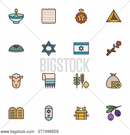 Israel, Judaism Related Line Icons Set, Outline Vector Symbol Collection, Linear Style Pictogram Pac