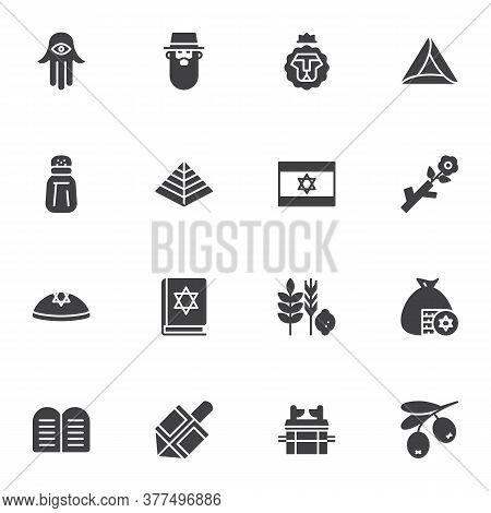 Judaism Related Vector Icons Set, Jewish Hanukkah Modern Solid Symbol Collection, Filled Style Picto