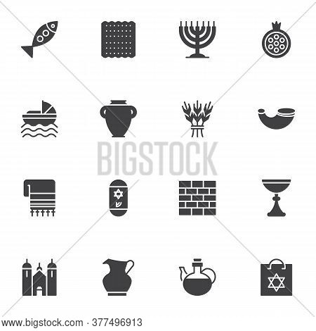 Jewish Hanukkah Holiday Vector Icons Set, Judaism Modern Solid Symbol Collection, Filled Style Picto